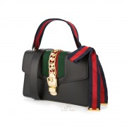 GUCCI SYLVIE LEATHER SHOULDER BAG IN BLACK (With 2 shoulder straps)