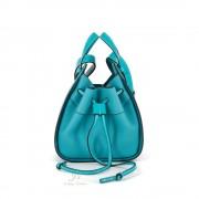 LOEWE HAMMOCK DRAWSTRING MINI BAG IN LAGOON BLUE SOFT GRAINED CALFSKIN