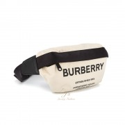BURBERRY MEDIUM HORSEFERRY PRINT COTTON CANVAS BUM BAG IN NATURAL/BLACK