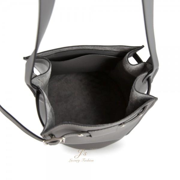CELINE BIG BAG BUCKET IN MEDIUM GREY WITH LONG STRAP IN SMOOTH CALFSKIN (NEW LOGO)