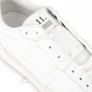 VALENTINO GARAVANI ROCKSTUD UNTITLED SNEAKER IN WHITE/WHITE CALFSKIN LEATHER