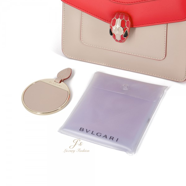 BVLGARI SERPENTI FOREVER Small Flap Cover Bag in SEA STAR CORAL/ MILKY OPAL