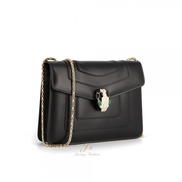 BVLGARI SERPENTI FOREVER Small Flap Cover Bag in BLACK