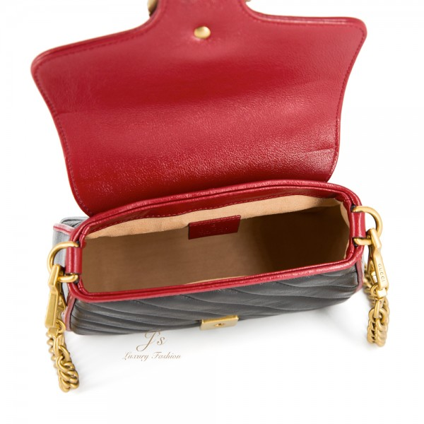 GUCCI GG MARMONT MINI TOP HANDLE BAG IN BLACK/RED