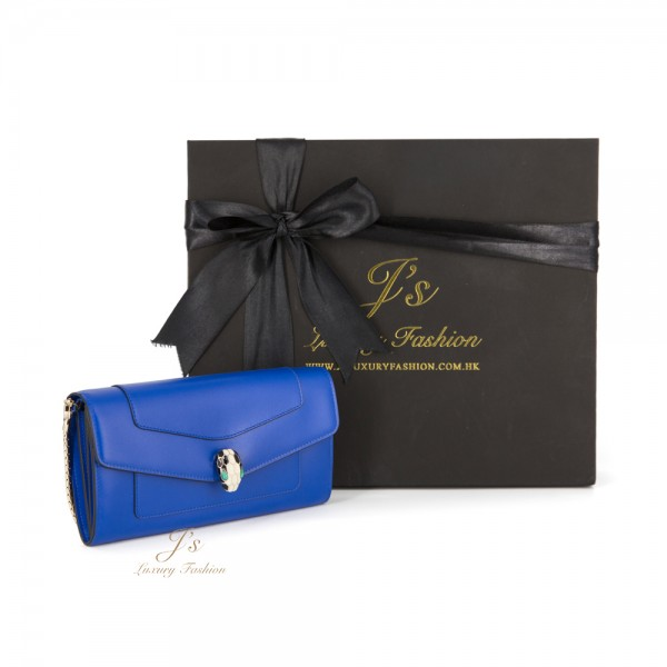 BVLGARI SERPENTI FLAP WALLET IN COBALT TOURMALINE WITH SHORT CHAIN