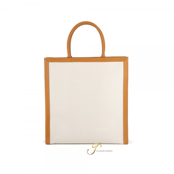 CELINE VERTICAL CABAS CELINE IN CANVAS WITH CELINE PRINT AND CALFSKIN IN NATURAL/TAN (NEW LOGO)