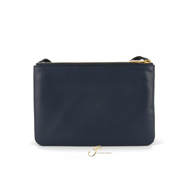 CELINE SMALL TRIO BAG IN NAVY BLUE SMOOTH LAMBSKIIN (NEW LOGO)