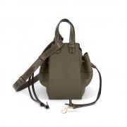 LOEWE HAMMOCK DRAWSTRING SMALL BAG IN KHAKI GREEN  SOFT GRAINED CALFSKIN