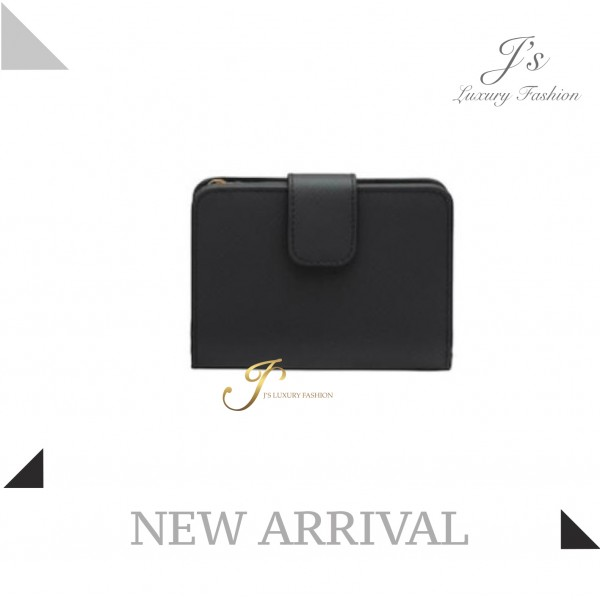 PRADA SMALL SAFFIANO AND LEATHER WALLET IN BLACK