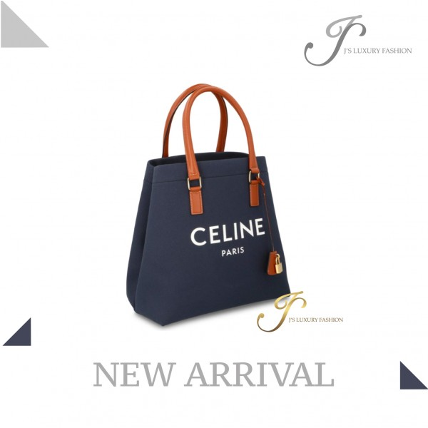 CELINE HORIZONTAL CABAS CELINE IN NAVY/TAN CANVAS WITH CELINE PRINT AND CALFSKIN (NEW LOGO)