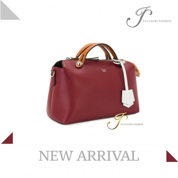 FENDI BY THE WAY MEDIUM CALFSKIN/ELAPHE TOTE (SPECIAL EDITION) IN BURGUNDY MULTICOLOUR