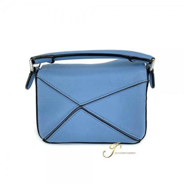 LOEWE NANO PUZZLE BAG IN LIGHT BLUE CLASSIC CALFSKIN