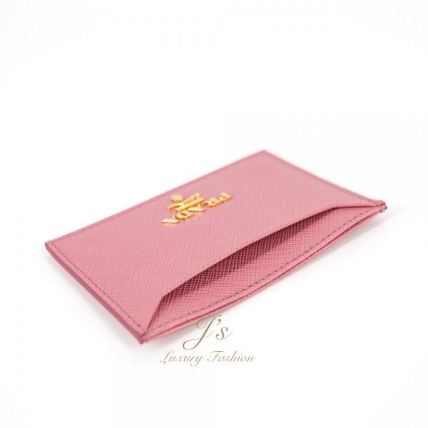 PRADA Leather Card Case in Petalo