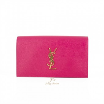 SAINT LAURENT SLP CLASSIC MONOGRAM CLUTCH IN GRAINED LEATHER in FUXIA Grained calfskin leather