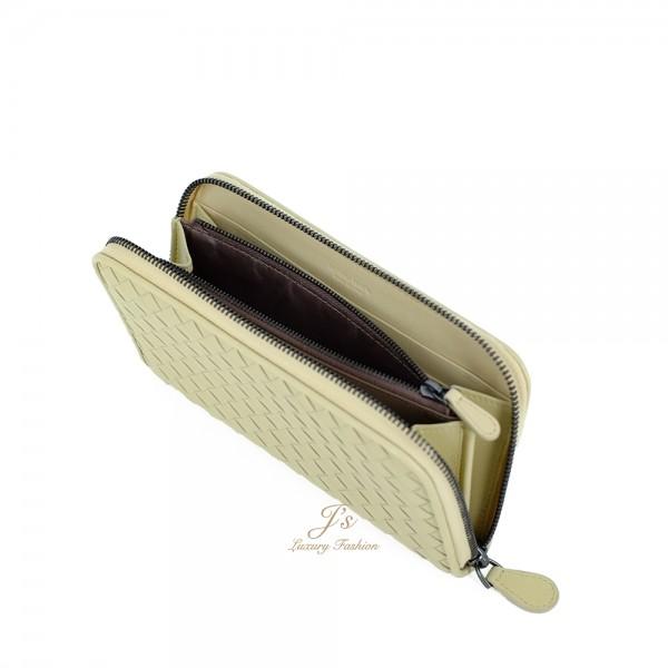 Bottega Veneta Zip Around Wallet in Cream Yellow