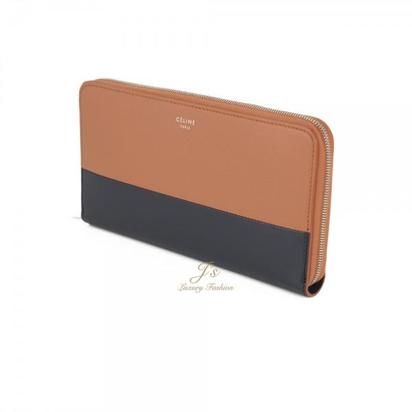CELINE Zip Around Wallet in Terracotta/Navy (OLD LOGO)