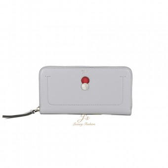 FENDI DOTCOM ZIP AROUND WALLET in GREY & RED CALFSKIN